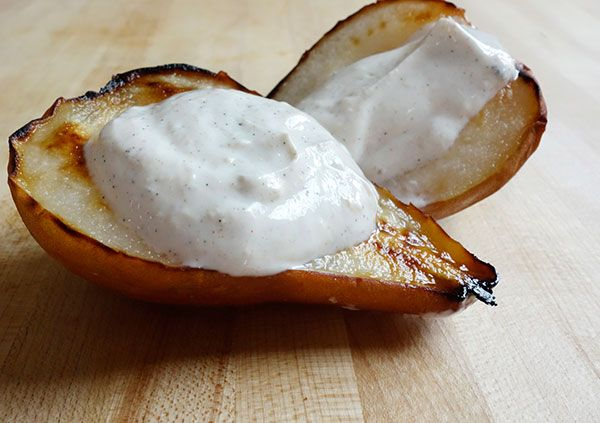 Oven Roasted Pear with Whipped Vanilla Ginger Yogurt   Recipe