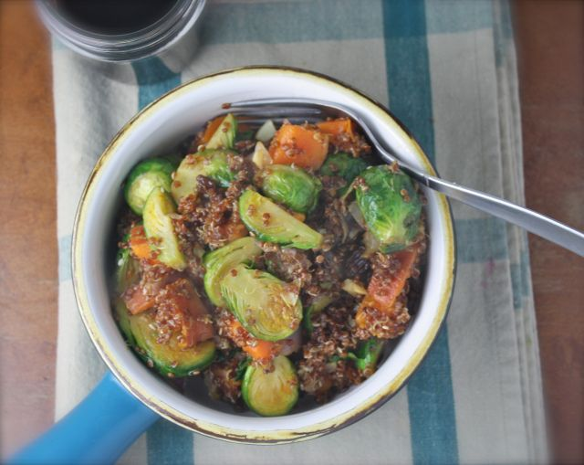 Roasted Brussels Sprouts & Sweet Potato Quinoa Bowls with Maple Dijon ...