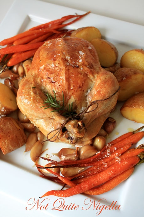 Roast Chicken with 40 Garlic Cloves | NQN | Pinterest