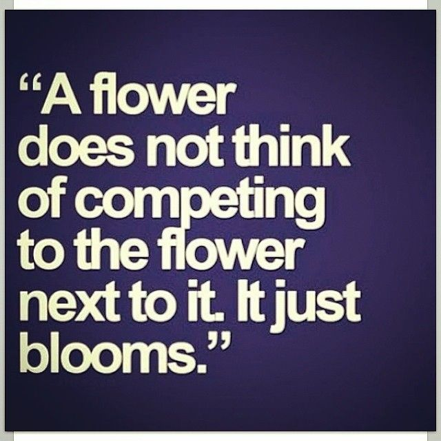 Life is not a competition Thought provoking stuff