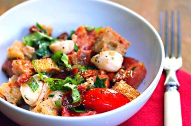 Two-Tomato Bread Salad with Roasted Garlic Dressing