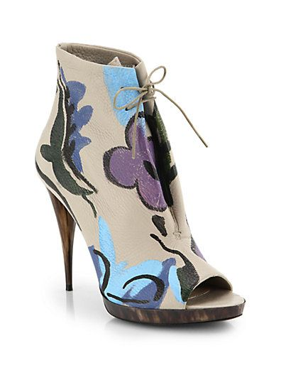 Burberry Prorsum Hand-Painted Leather Peep Toe Booties http://toyastales.blogspot.com/2014/07/be-always-blooming-ootd.html