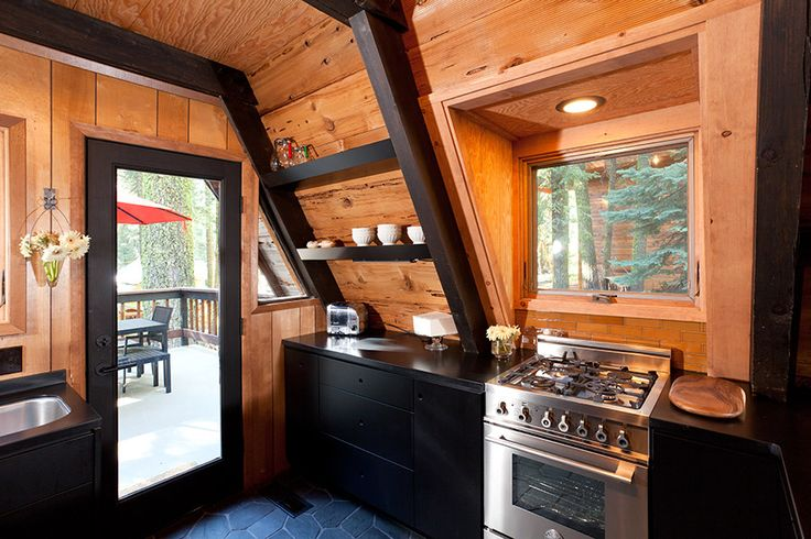 Pin by design public on a frame houses pinterest for A frame cabin interior