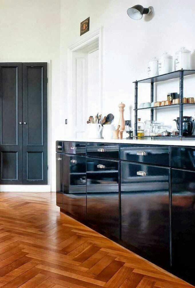black cabinets