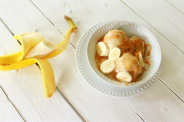 Banana Ice Cream with Honey Peanut Sauce. The ice cream part was ...