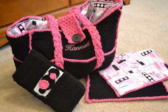 Crochet Diaper Bag set by MandSbowtique on Etsy, $65.00