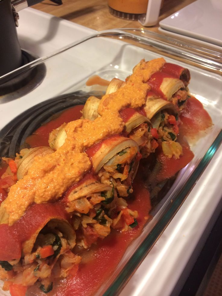 Eggplant cannelloni with pine nut romesco sauce http ...