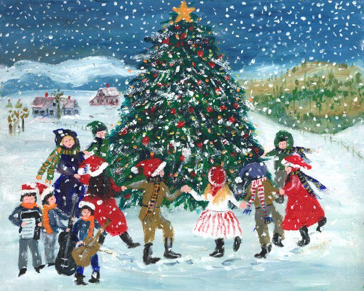 Around the christmas tree train set