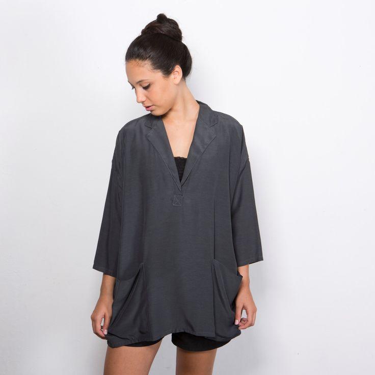 women grey shirt big top gray blouse women oversized shirt