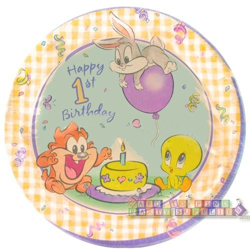 Baby looney tunes 1st birthday large paper plates 8ct for Baby looney tune decoration
