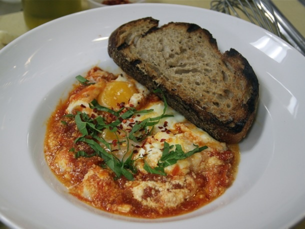 Homemade Ricotta With Baked Eggs And Tomato Sauce Recipe — Dishmaps