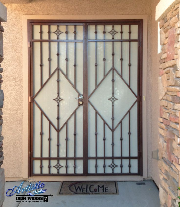 Iron french security door fd0081 wrought iron security for Security doors for french doors