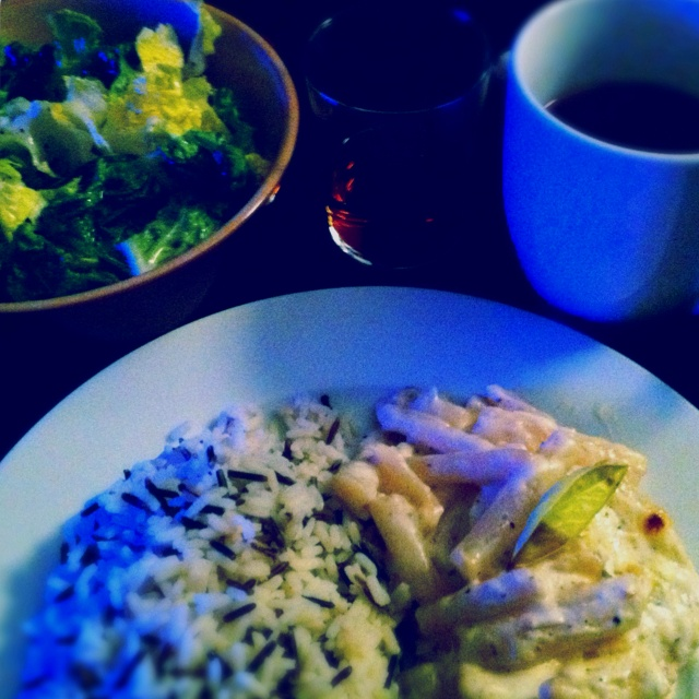 Lemon Chicken in white sauce with black root, wild rice and green ...