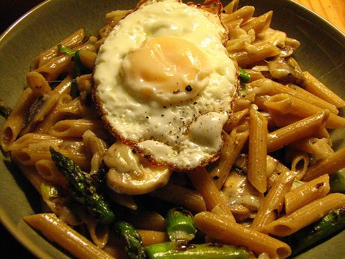Whole Wheat Pasta with Leeks, Asparagus, Mushrooms, Gruyere and a ...