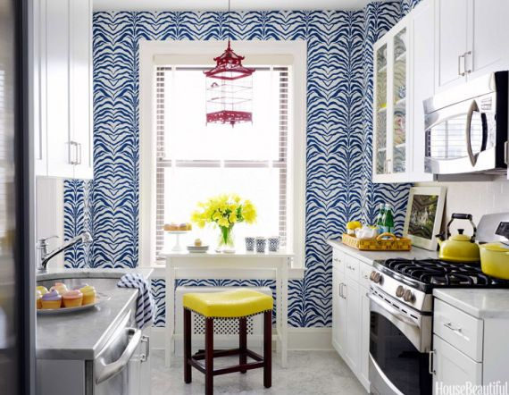 Blue And Yellow Designer Kitchen Inspirational Spaces