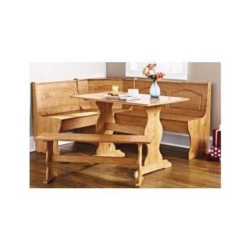 New kitchen nook solid wood corner dining breakfast set table bench c - Kitchen nook sets ...