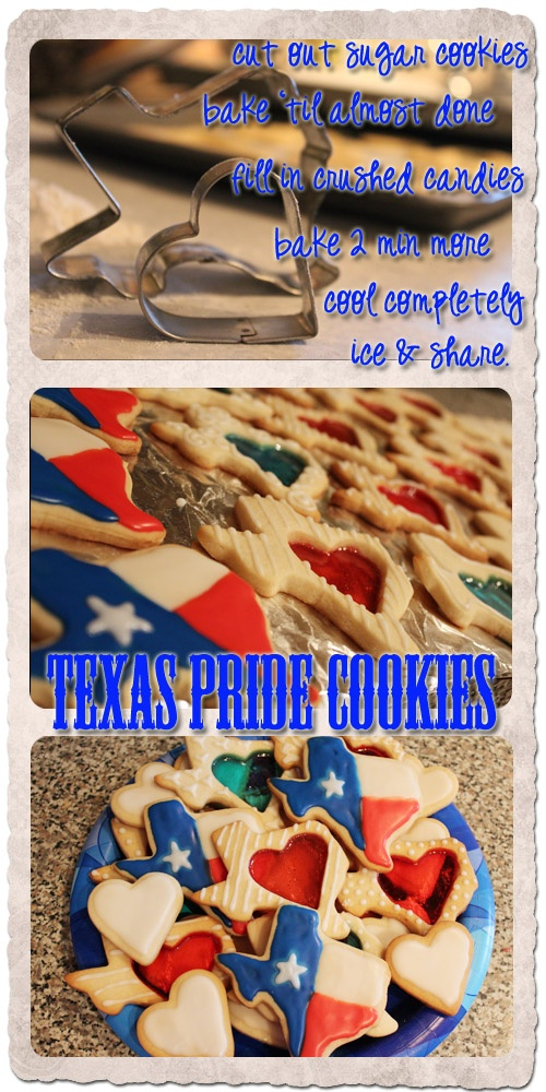 God Bless Texas! Assorted sugar cookies filled with Jolly Ranchers...