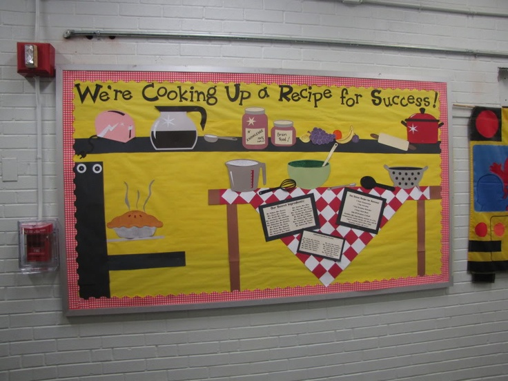 Love all the pictures on this recipe for success for Bulletin board ideas for kitchen