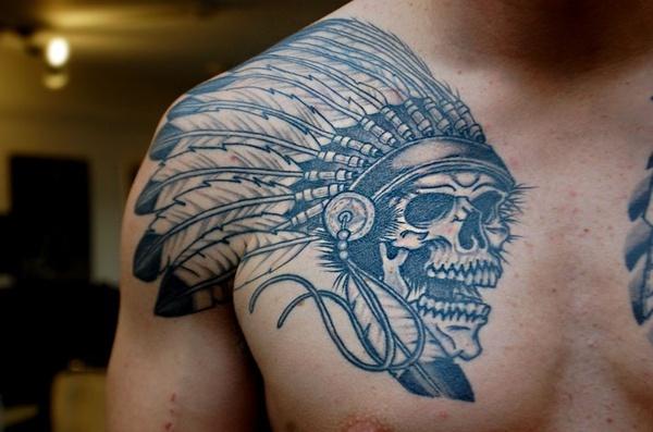 Egyptian wolf tattoo egyptian wolf tattoos on half - Native Skull Chest Tattoo Tattoo Ideas Pinterest