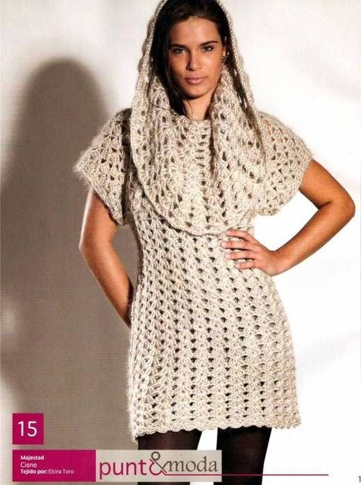 Зимнее платье-туника крючком