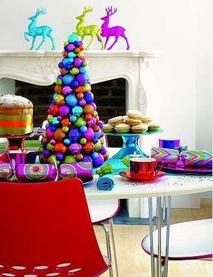 Christmas Table Settings & Centerpieces/love the bright colored deer on mantel.