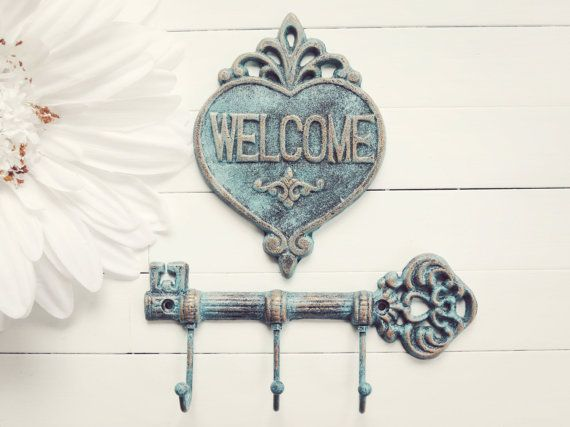 Cast Iron Key Hook / Welcome Sign / Iron Key / by WillowsGrace, $30.00