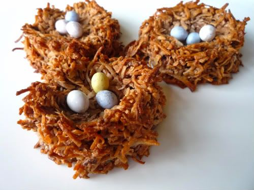 bird's nest cookies- chocolate coconut macaroons