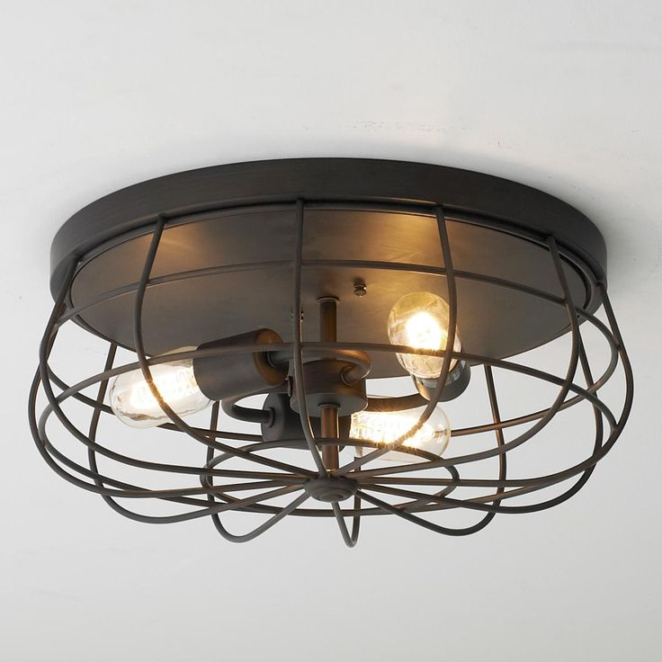 Ceiling Or Wall Light With Cage : Industrial Cage Ceiling Light Available in 2 Colors: Bronze, Satin Ni?