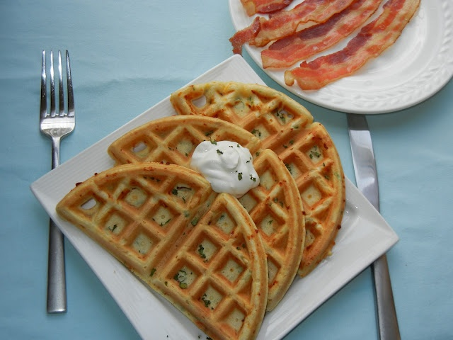 Smoked Cheese and Green Onion Waffles