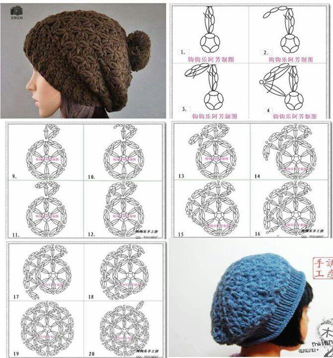 Diagrams for two cute hats Crochet Loving Hat Pinterest