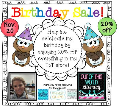 It's my birthday on November 20.  And to celebrate I am offering 20% off all my resources for one day only!