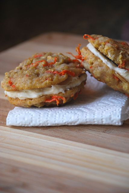 Carrot Cake Whoopie Pies! With cream cheese frosting, I think I'd pop ...
