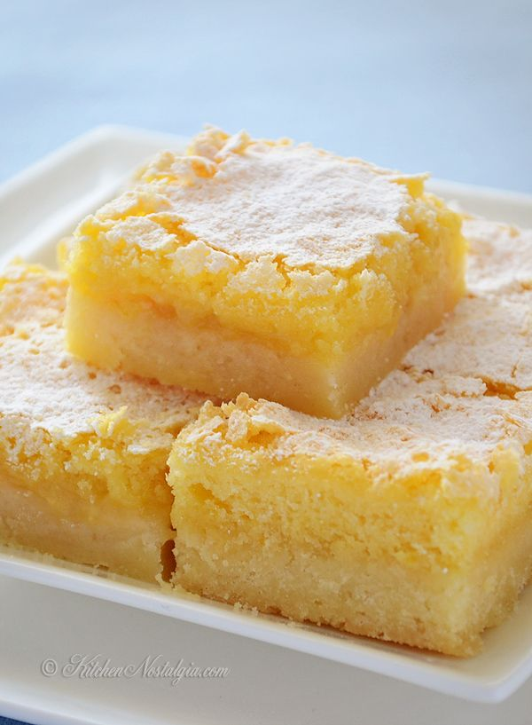 Lemon Squares - not too sweet lemon bars with thick shortbread crust ...