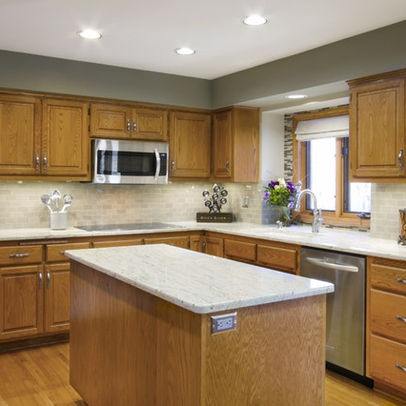 Kitchen honey oak design backsplash pinterest for Kitchen ideas honey oak cabinets