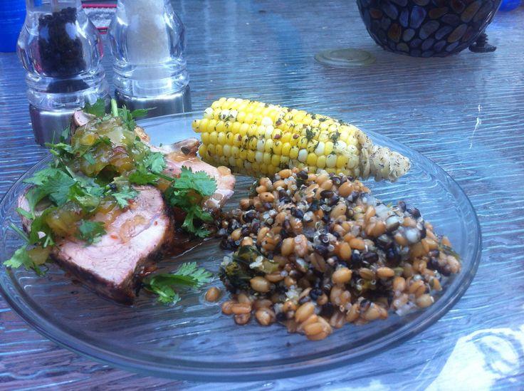 summer meal! Grilled pork tenderloin with pineapple, habanero salsa ...