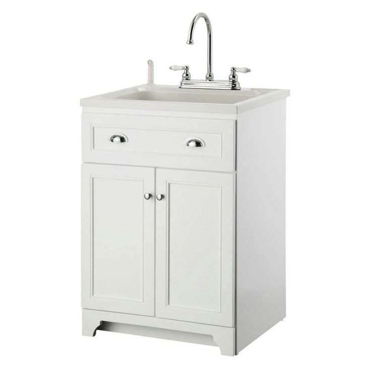 24 Utility Sink : Keats 24 in. Laundry Vanity in White and ABS Sink in White and Faucet ...