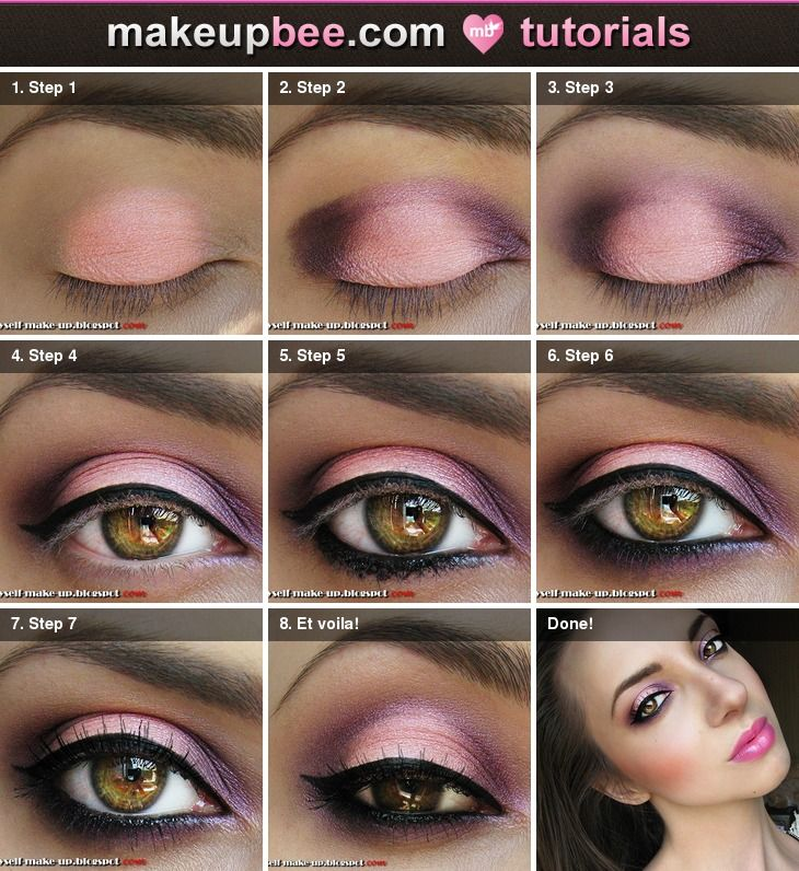 Pinks/purples makeup tutorial. You could substitute the colors too!