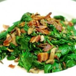 Sautéed Spinach with Bacon, Bacon Grease, Shallots, & Mushrooms!