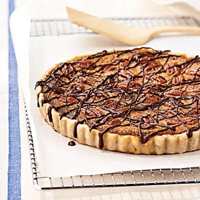 Bourbon-Pecan Tart with Chocolate Drizzle | CookingLight.com