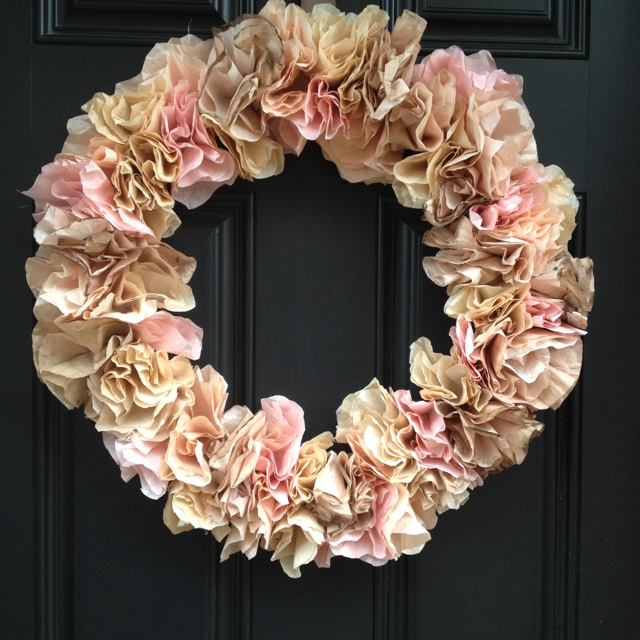 Coffee filter wreath. filters - 92 cents, wreath 1.97, hot glue free ...