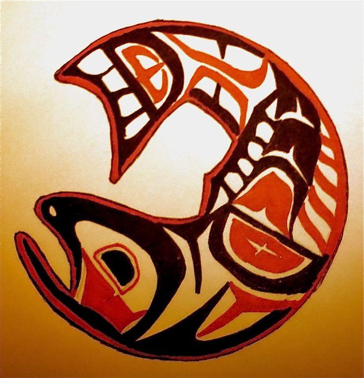 some native alaskan art that i did a salmon about baha 39 i pinterest. Black Bedroom Furniture Sets. Home Design Ideas