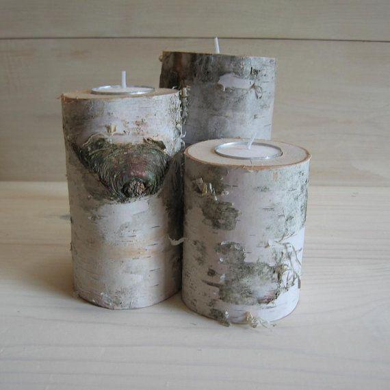 Rustic centerpiece set of birch branch tea light candle