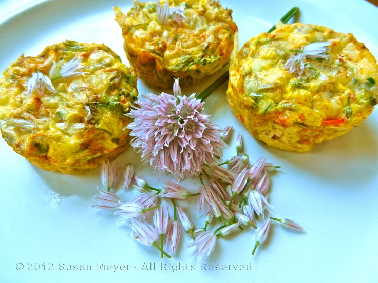 Mini Veggie Frittatas with Chive Blossoms & Asparagus - I follow the