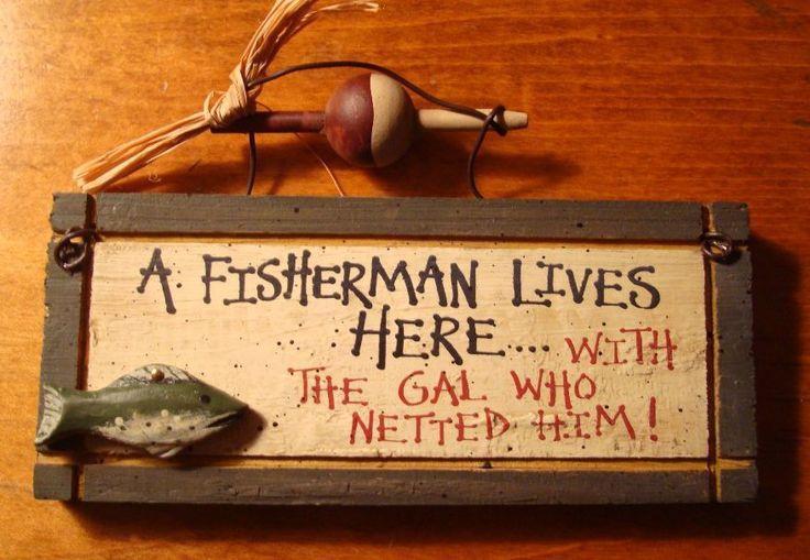 Fisherman Lives Here Rustic Fishing Lodge Log Cabin Home Decor Wood S