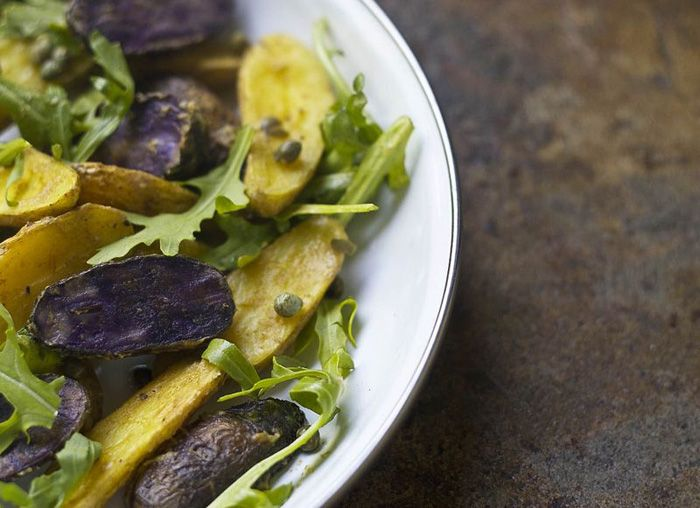 Warm Roasted Fingerling Potato Salad | V E G E T A R I A N | Pinterest