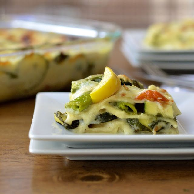 Summer Veggie Lasagna with Skinny Alfredo Sauce - low fat but decadent ...