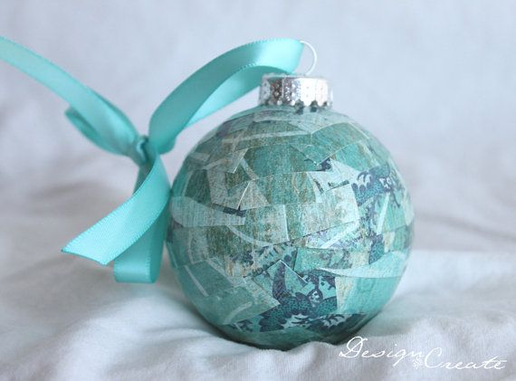 Handcrafted Christmas Ball  Teal Dark Blue and by DESIGNandCREATE, $7.00