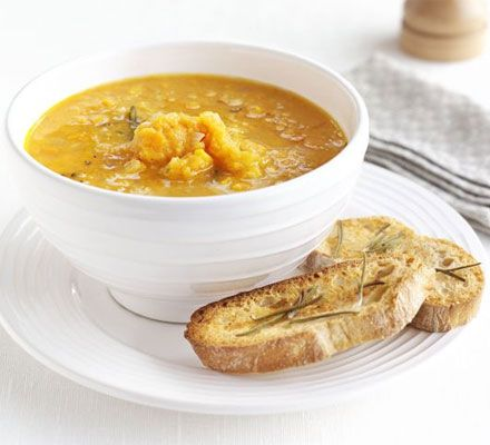 Sweet potato & rosemary soup with garlic toasts | Recipe