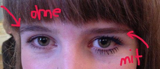 Augen mit und ohne Miss Manga Mascara