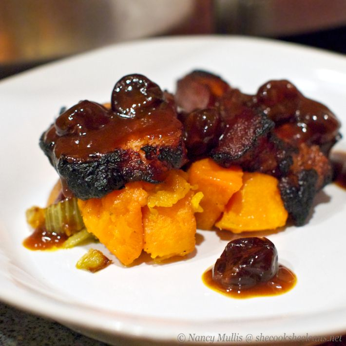 BRAISED PORK BELLY WITH CHERRY SAUCE (paleo)